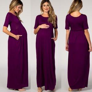 Pinkblush Purple Short Sleeve Maternity Maxi Dress